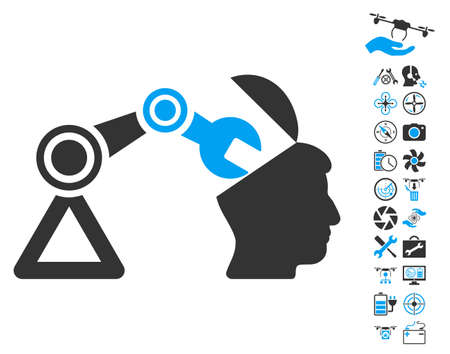 sculp: Open Head Surgery Manipulator pictograph with bonus flying drone tools design elements. Glyph illustration style is flat iconic blue and gray symbols on white background.