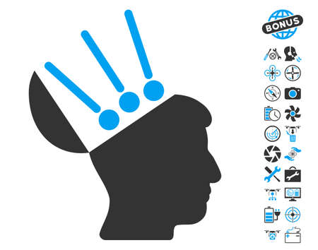 connectors: Open Mind Interface icon with bonus quadrocopter tools clip art. Glyph illustration style is flat iconic blue and gray symbols on white background. Stock Photo
