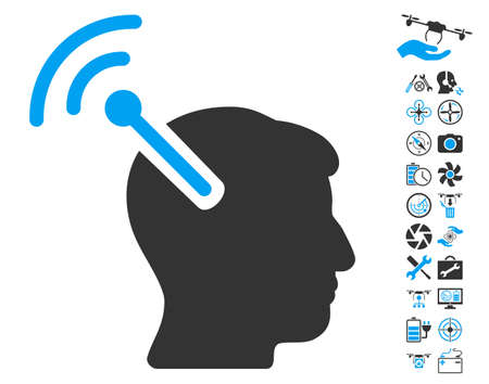 cerebra: Radio Neural Interface pictograph with bonus uav service pictograph collection. Glyph illustration style is flat iconic blue and gray symbols on white background.