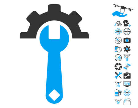Service Tools pictograph with bonus copter tools pictograph collection. Glyph illustration style is flat iconic blue and gray symbols on white background. Stock Photo