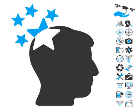 ruch: Stars Hit Head icon with bonus quadrocopter service pictograms. Glyph illustration style is flat iconic blue and gray symbols on white background. Stock Photo