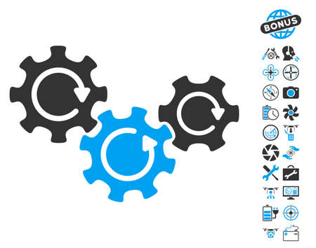complex system: Transmission Gears Rotation icon with bonus aircopter service icon set. Glyph illustration style is flat iconic blue and gray symbols on white background.