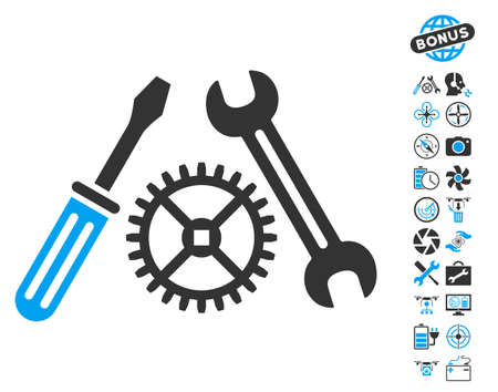 Tuning Service pictograph with bonus flying drone service design elements. Glyph illustration style is flat iconic blue and gray symbols on white background.