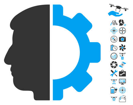artificial model: Android Head pictograph with bonus airdrone tools pictograph collection. Vector illustration style is flat iconic blue and gray symbols on white background.
