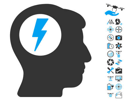 ruch: Brain Electric Shock icon with bonus drone tools pictures. Vector illustration style is flat iconic blue and gray symbols on white background.