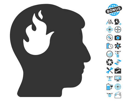 ruch: Brain Fire icon with bonus flying drone service graphic icons. Vector illustration style is flat iconic blue and gray symbols on white background.