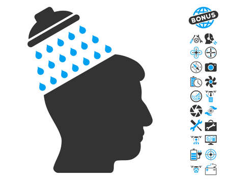 Brain Shower pictograph with bonus flying drone tools pictures. Vector illustration style is flat iconic blue and gray symbols on white background.