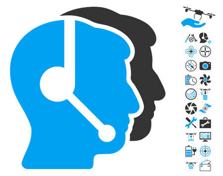 operators: Call Center Operators pictograph with bonus flying drone tools pictograph collection. Vector illustration style is flat iconic blue and gray symbols on white background.