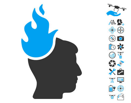ruch: Fired Head pictograph with bonus flying drone tools pictograph collection. Vector illustration style is flat iconic blue and gray symbols on white background.