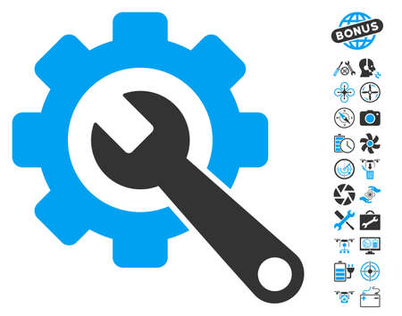 Gear and Wrench pictograph with bonus drone service graphic icons. Vector illustration style is flat iconic blue and gray symbols on white background.