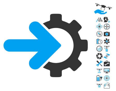 Gear Integration icon with bonus quad copter tools pictograms. Vector illustration style is flat iconic blue and gray symbols on white background.