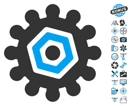 Gear icon with bonus copter service symbols. Vector illustration style is flat iconic blue and gray symbols on white background.