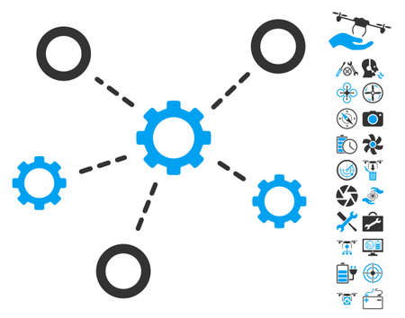 Gears Relations icon with bonus quadrocopter tools pictures. Vector illustration style is flat iconic blue and gray symbols on white background.