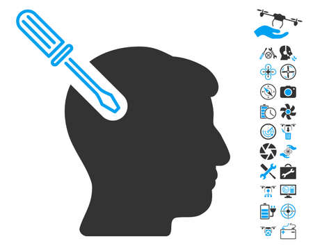 Head Surgery Screwdriver pictograph with bonus nanocopter service icon set. Vector illustration style is flat iconic blue and gray symbols on white background.