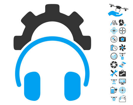 industry electronic: Headphones Configuration Gear icon with bonus quad copter service pictograms. Vector illustration style is flat iconic blue and gray symbols on white background. Illustration