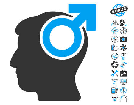potency: Intellect Potency pictograph with bonus copter service pictograph collection. Vector illustration style is flat iconic blue and gray symbols on white background.