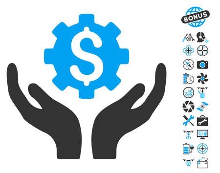 Maintenance Price icon with bonus uav tools pictograph collection. Vector illustration style is flat iconic blue and gray symbols on white background. Illustration