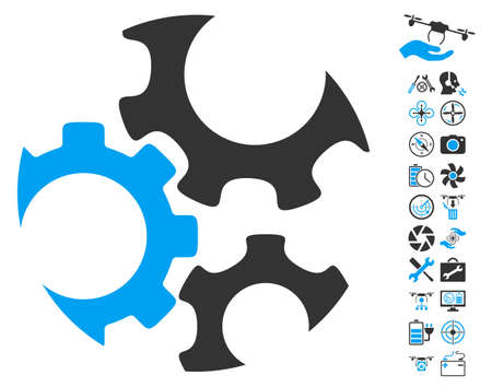Mechanics Gears icon with bonus copter service design elements. Vector illustration style is flat iconic blue and gray symbols on white background.