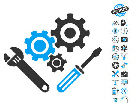 Mechanics Tools pictograph with bonus uav tools icon set. Vector illustration style is flat iconic blue and gray symbols on white background. Illustration