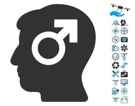 potency: Mind Potency pictograph with bonus quad copter tools pictograms. Vector illustration style is flat iconic blue and gray symbols on white background.