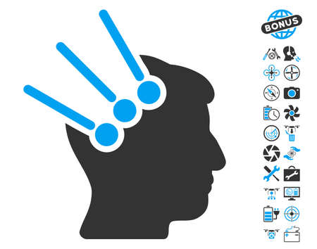 Neural Interface Connectors pictograph with bonus quad copter service pictures. Vector illustration style is flat iconic blue and gray symbols on white background.