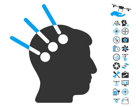 cerebra: Neural Interface icon with bonus drone tools pictograph collection. Vector illustration style is flat iconic blue and gray symbols on white background. Illustration