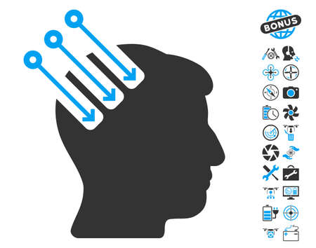 Neuro Interface icon with bonus quadrocopter tools images. Vector illustration style is flat iconic blue and gray symbols on white background.