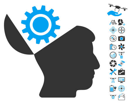 open minded: Open Head Gear icon with bonus nanocopter tools pictures. Vector illustration style is flat iconic blue and gray symbols on white background.
