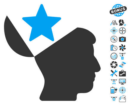 open minded: Open Head Star pictograph with bonus uav tools images. Vector illustration style is flat iconic blue and gray symbols on white background.