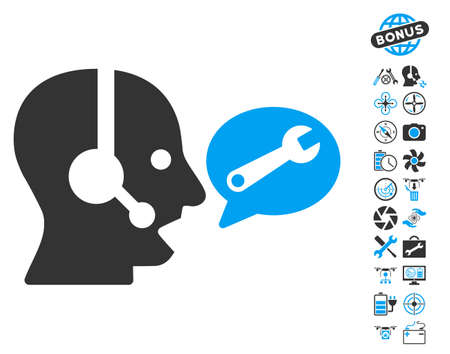 Operator Service Message pictograph with bonus quadrocopter tools graphic icons. Vector illustration style is flat iconic blue and gray symbols on white background.