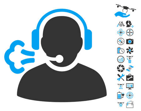 setup man: Operator Speech pictograph with bonus quad copter service graphic icons. Vector illustration style is flat iconic blue and gray symbols on white background.