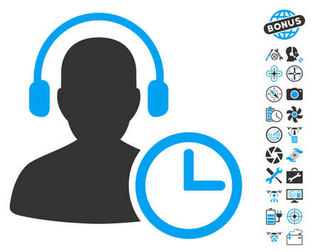 Operator Time pictograph with bonus flying drone tools pictures. Vector illustration style is flat iconic blue and gray symbols on white background. Illustration