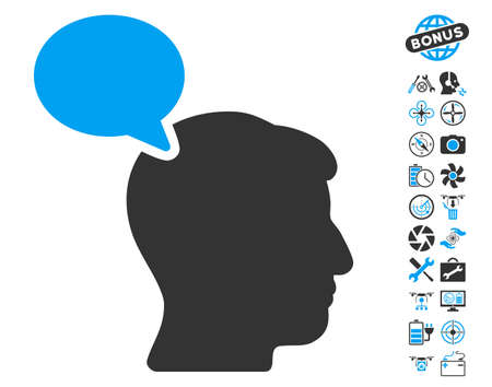 hominid: Person Opinion icon with bonus airdrone tools pictograph collection. Vector illustration style is flat iconic blue and gray symbols on white background.