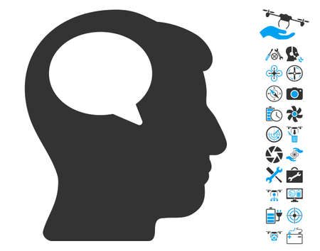 hominid: Person Thinking pictograph with bonus flying drone tools pictures. Vector illustration style is flat iconic blue and gray symbols on white background.