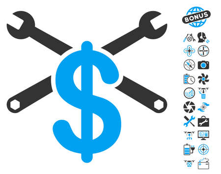 Repair Service Price icon with bonus uav service icon set. Vector illustration style is flat iconic blue and gray symbols on white background.