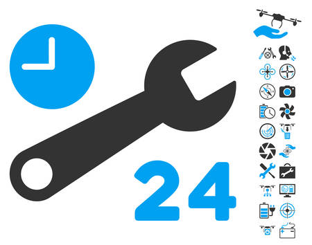 schedule system: Service Hours pictograph with bonus airdrone service pictograms. Vector illustration style is flat iconic blue and gray symbols on white background.