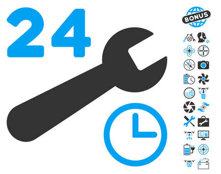 Service Hours pictograph with bonus flying drone service pictograms. Vector illustration style is flat iconic blue and gray symbols on white background.