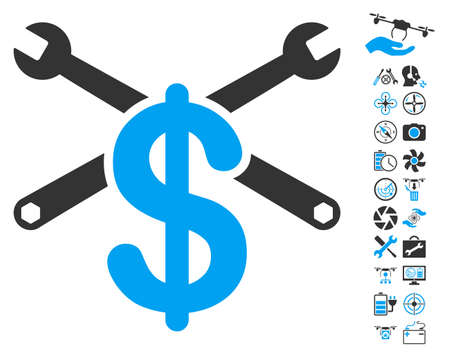 Service Price icon with bonus flying drone tools icon set. Vector illustration style is flat iconic blue and gray symbols on white background.