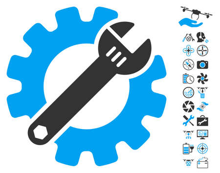 Service Tools icon with bonus airdrone tools images. Vector illustration style is flat iconic blue and gray symbols on white background.
