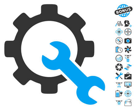 Service Tools icon with bonus airdrone service pictures. Vector illustration style is flat iconic blue and gray symbols on white background.