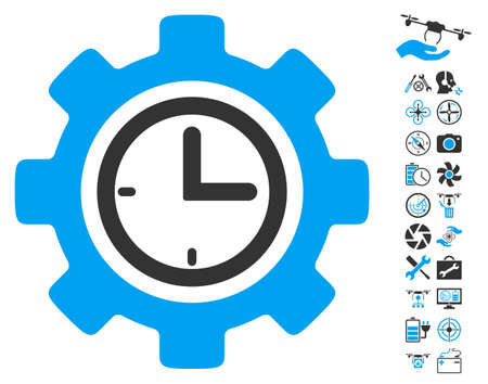 Time Setup Gear icon with bonus flying drone tools symbols. Vector illustration style is flat iconic blue and gray symbols on white background.