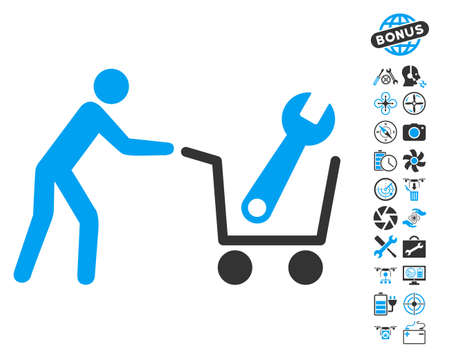 Tools Shopping pictograph with bonus uav tools images. Vector illustration style is flat iconic blue and gray symbols on white background. Illustration