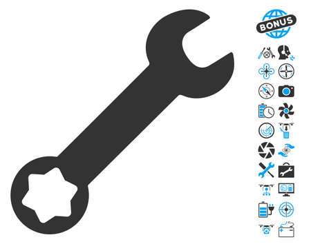 config: Wrench icon with bonus aircopter tools graphic icons. Vector illustration style is flat iconic blue and gray symbols on white background. Illustration