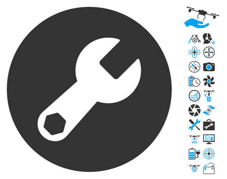 config: Wrench pictograph with bonus quad copter tools pictograph collection. Vector illustration style is flat iconic blue and gray symbols on white background.