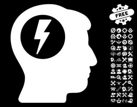 electric shock: pictograma de la descarga eléctrica del cerebro con las herramientas de bonificación imágenes. estilo de ilustración vectorial es plana símbolos blancos icónicos sobre fondo negro.