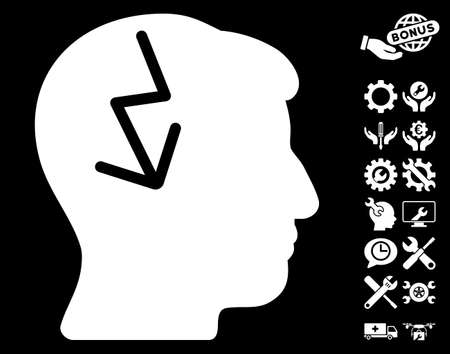enforce: Brain Electric Strike icon with bonus setup tools pictures. Vector illustration style is flat iconic white symbols on black background.