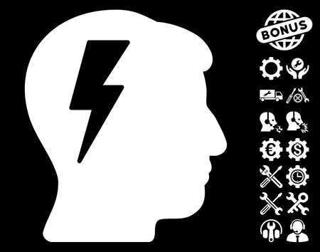 black man thinking: Brainstorming icon with bonus options pictograph collection. Vector illustration style is flat iconic white symbols on black background. Illustration
