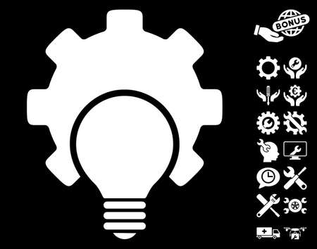 config: Bulb Configuration Gear pictograph with bonus settings clip art. Vector illustration style is flat iconic white symbols on black background.