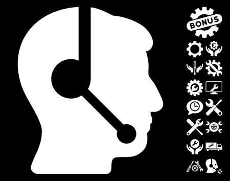 talker: Call Center Operator icon with bonus setup tools graphic icons. Vector illustration style is flat iconic white symbols on black background.