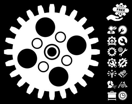 Cogwheel pictograph with bonus service images. Vector illustration style is flat iconic white symbols on black background.
